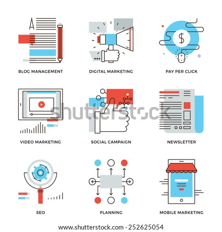 Thin line icons of digital marketing, video advertising, social media campaign, newsletter promotion, website optimization. Modern flat line design element vector collection logo illustration concept. - stock vector