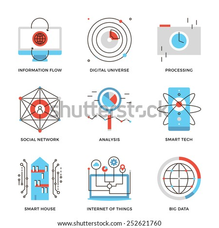 Thin line icons of internet of things technologies, big datum analysis, smart tech and futuristic communication processing. Modern flat line design element vector collection logo illustration concept. - stock vector