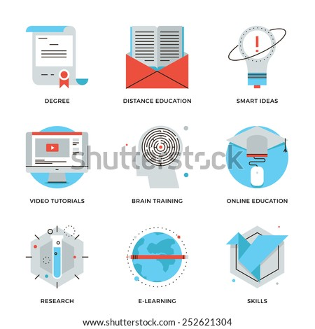 Thin line icons of online education, brain training games, internet tutorials, smart ideas, electronic learning process. Modern flat line design element vector collection logo illustration concept. - stock vector
