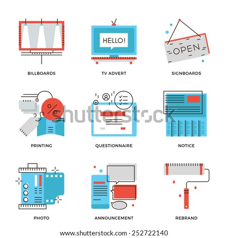 Thin line icons of success advertising channels, direct marketing, company rebrand development, branding product promotion. Modern flat line design element vector collection logo illustration concept. - stock vector