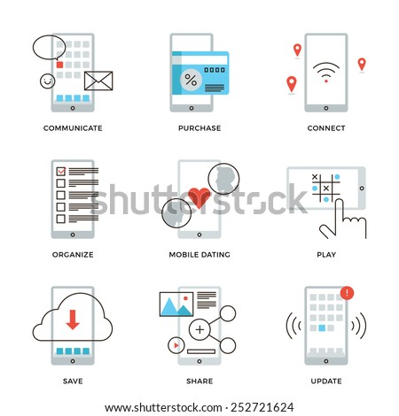 Thin line icons of various smartphone apps using, mobile dating, messaging, wireless credit card payment, software update. Modern flat line design element vector collection logo illustration concept. - stock vector
