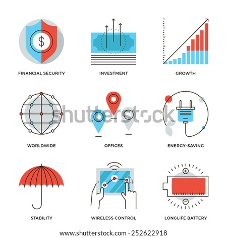 Thin line icons of worldwide corporate business, money growth chart, financial security, energy savings, company stability. Modern flat line design element vector collection logo illustration concept. - stock vector