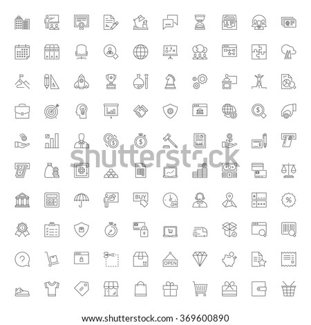 Thin line icons set. 100 flat symbols about business, finances and shopping - stock vector