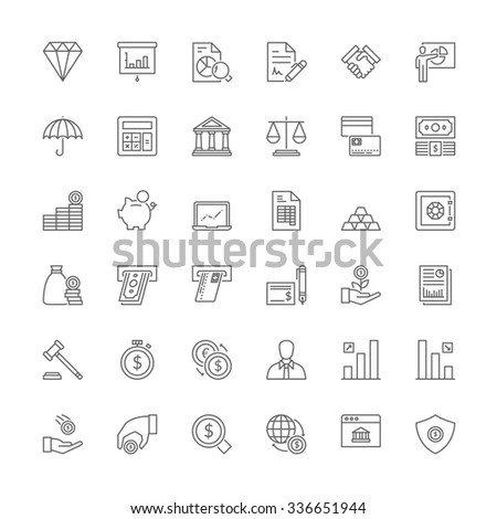 Thin line icons set. Flat symbols about finances - stock vector