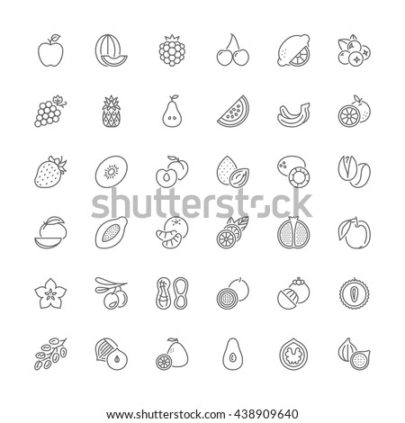 Thin line icons set. Flat symbols about fruit - stock vector