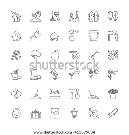 Thin line icons set. Flat symbols about gardening - stock vector