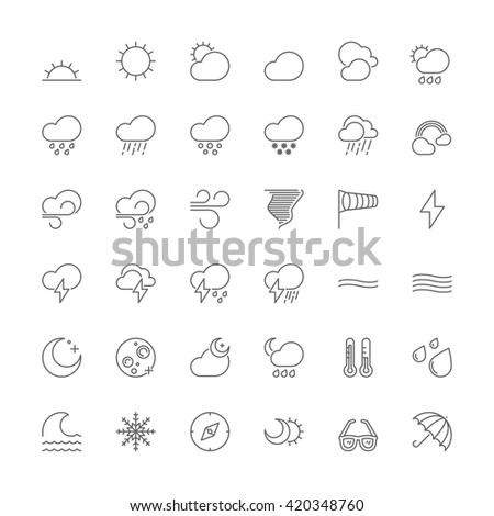 Thin line icons set. Flat symbols about the weather - stock vector
