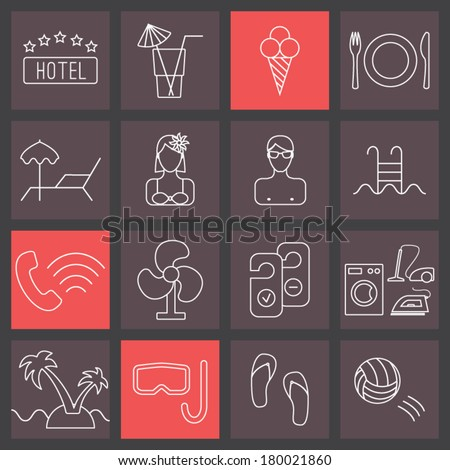 thin line icons set, hotel collection - stock vector