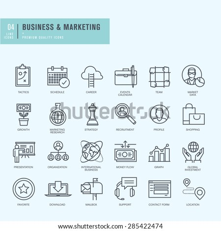Thin line icons set. Icons for business.     - stock vector