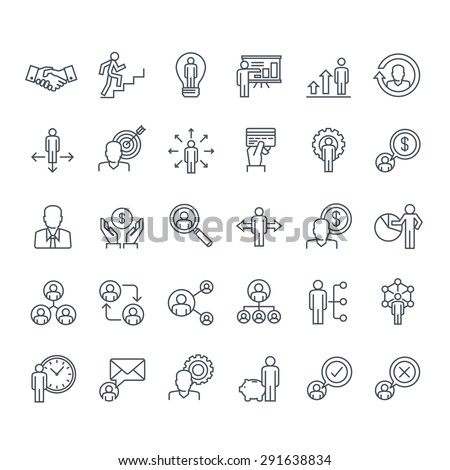 Thin line icons set. Icons for business, management, finance, strategy, planning, analytics, banking, communication, social network, affiliate marketing.   - stock vector