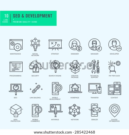 Thin line icons set. Icons for seo, website and app design and development.     - stock vector