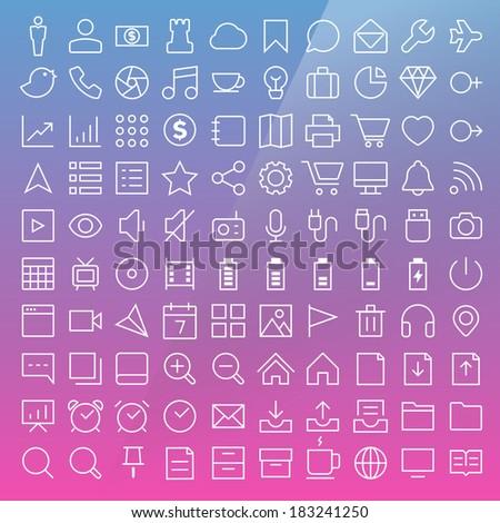 Thin Line Icons set.Illustration eps10 - stock vector