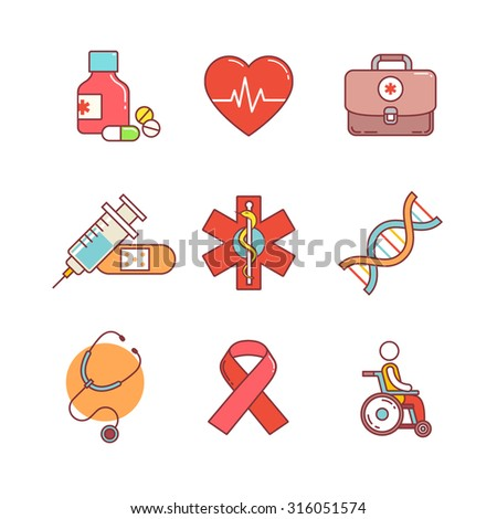 Thin line icons set. Medical, healthcare and health awareness. Flat style color vector symbols isolated on white. - stock vector