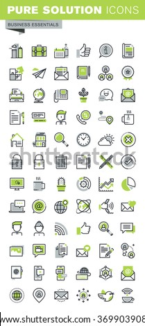 Thin line icons set of business, office supplies and equipment, online communications, social network, technical support, mobile services. Premium quality outline icon collection. - stock vector