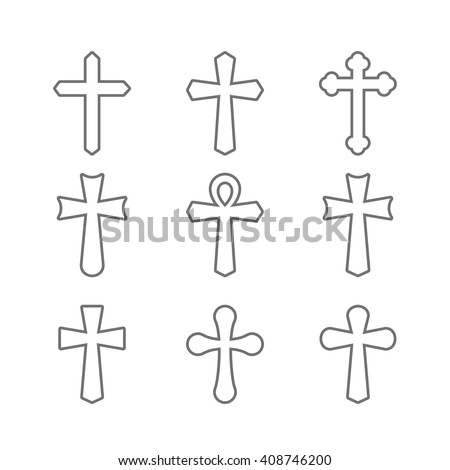 Thin line icons set of crosses. Illustration of crosses. Set of crosses. Crosses isolated on a white background. Different types of crosses.  - stock vector