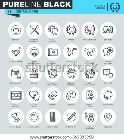 Thin line icons set of dental care, dental treatment, dental equipment, oral hygiene. Icons for website and mobile website and apps with editable stroke.  - stock vector