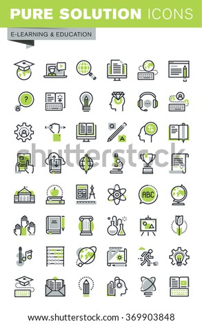 Thin line icons set of distance education, online training and courses, cloud solutions for education, staff training, digital library, basic and elementary study. Premium quality outline icons. - stock vector