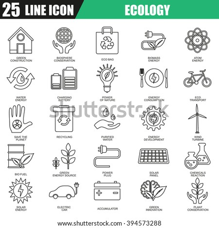 Thin line icons set of ecological energy source, environmental safety. Modern flat linear concept pictogram, set outline symbol for graphic and web designers. - stock vector