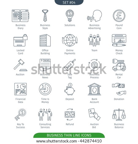 Thin Line Icons Set Of Finance And Business. Web Elements Collection