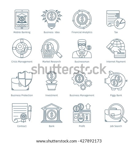 Thin Line Icons Set Of Finance And Business. Web Objects And Elements Collection