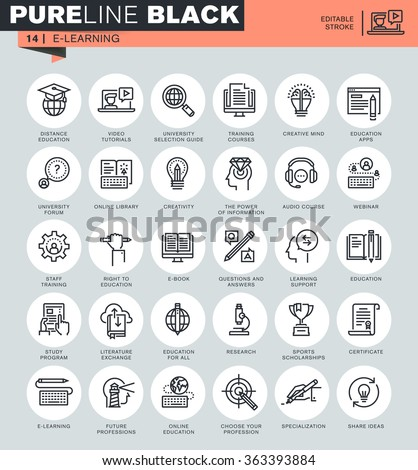 Thin line icons set of online education, e-learning, e-book. Icons for website and mobile website and apps with editable stroke.  - stock vector