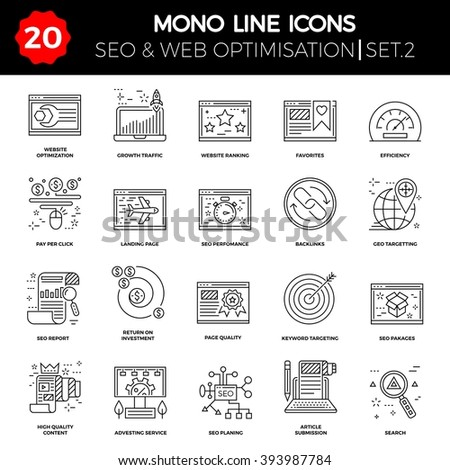 Thin Line Icons Set of Search Engine Optimization, Website and APP Design and Development. Simple Mono Line Pictogram Pack. Stroke Vector Logo Concept, Web Graphic. Vector icons. - stock vector