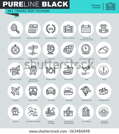 Thin line icons set of travel and tourism, for travel agencies, holidays offer, information about destinations, types of transport. Icons for website and mobile website and apps with editable stroke.  - stock vector