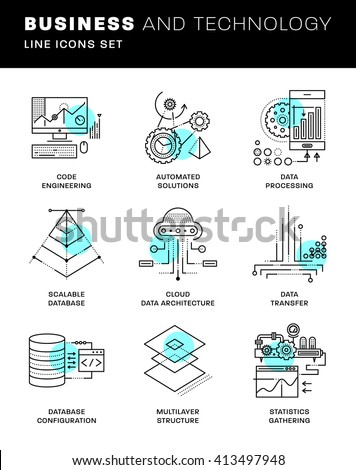 Thin Line Icons Set. Simple Linear Pictogram Collection for Web Design. Stroke Logo Concept Pack. Big Data Structure, Database Architecture, Data Science Technology Concept. Vector Illustration - stock vector