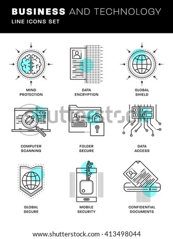 Thin Line Icons Set. Simple Linear Pictogram Collection for Web Design. Stroke Logo Concept Pack. Computer, Data, Payments Security. Confidential Messages Encription. Vector Illustration - stock vector
