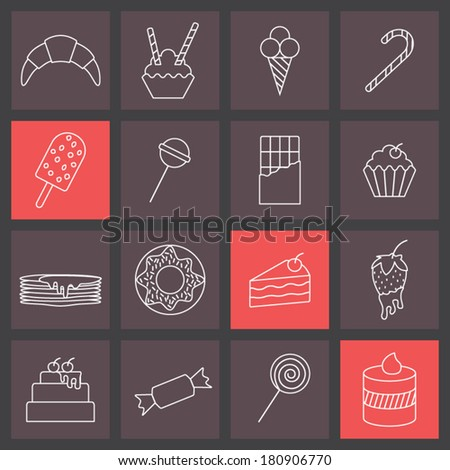 thin line icons set, sweets collection - stock vector