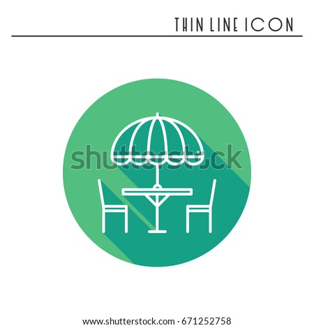 Cafe Patio Set Thin Line Icons Set Table Chair Stock Vector 574316215  Shutterstock