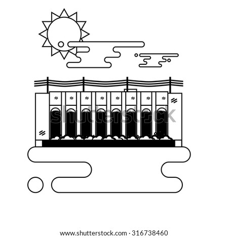 Thin line illustration of a hydroelectric dam generating power and electricity with falling water, sun and clouds. Thin line style vector with blank background. - stock vector