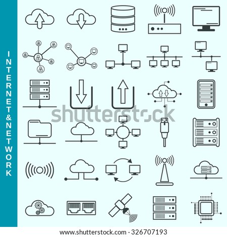 ethernet icon stock images royalty images vectors thin line internet and network cloud computing remote control vector icons set modern