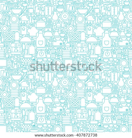 Thin Line Kitchen Appliances and Cooking White Seamless Pattern. Vector Website Design and Seamless Background in Trendy Modern Outline Style. Kitchenware Utensils. - stock vector