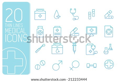 thin line medical set icons concept. Vector illustration design - stock vector