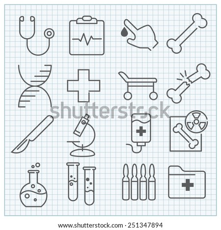 Thin line medicine and healthcare icons set - stock vector