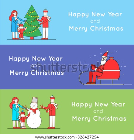 Thin line Merry Christmas and Happy New Year Santa Claus rides in a sleigh, family decorates Christmas tree, sculpts snowman family. 3 web banners and promotional materials flat design. - stock vector