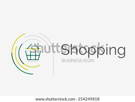Thin line neat design logo, clean modern concept, shopping cart icon - stock vector