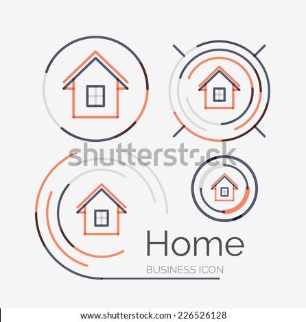 Thin line neat design logo set, clean modern concept, home, house idea - stock vector