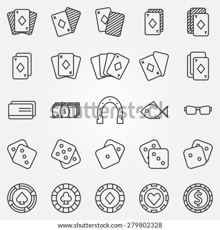 Thin line poker or casino icons set - vector gambling symbols - stock vector
