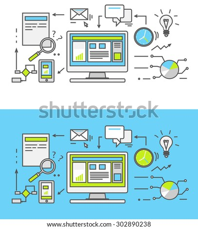 Thin line SEO icons. Pictogram for websites and mobile applications. Search engine optimization. SEO optimization, programming process and web analytics elements in flat design. Monitoring, traffic - stock vector