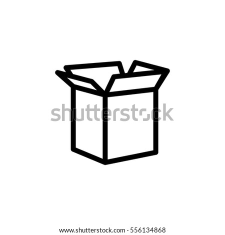 thin line shipping box icon on white background