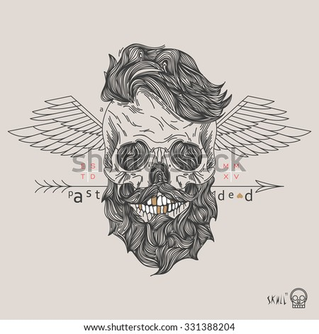 Thin line skull label. Retro vector design graphic element, badge, emblem, logo, insignia, sign, identity, logotype, poster. Stroke hipster illustration with typographic for t-shirt prints. - stock vector