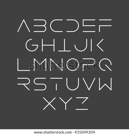 Thin line style, linear uppercase modern font, typeface, minimalist style. Latin alphabet letters. Vector design element. - stock vector