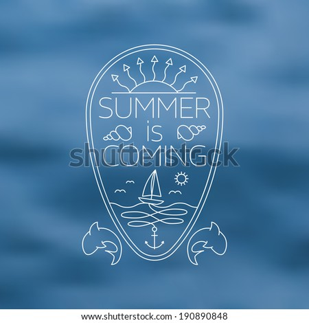 Thin Line Summer Holiday and Travel themed Nautical Outlined Background Illustration - stock vector
