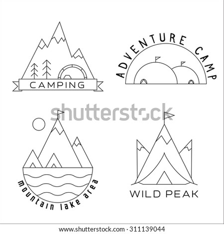 Thin line summer vacation and travel themed mountain camp outlined labels. Camping badges and emblems in thin line style. Adventure, hiking, scout, exploration concept. - stock vector