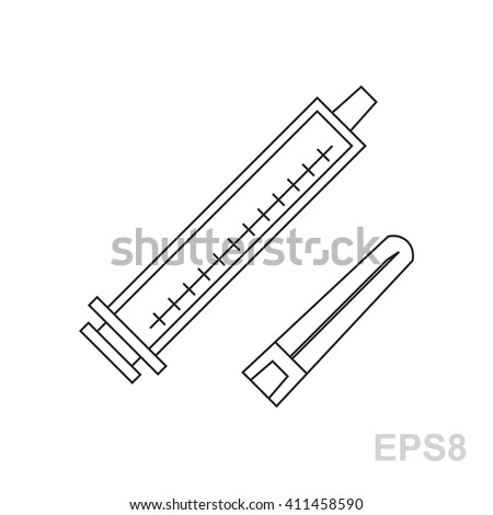 Thin line syringe icon Black Syringe icon isolated. Flat syringe icon. Vector syringe icon. Object syringe icon. Illustration syringe icon. Logo syringe icon. Simple syringe icon. Modern syringe icon - stock vector