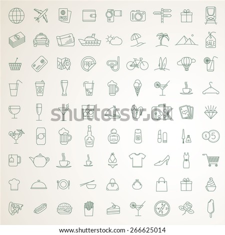 Thin line travel and tourism vector icons, signs and symbols. 81 objects. - stock vector