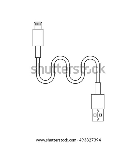 stock vector thin line usb lightning charging cable concept of connection tech cell phone accessories 493827394 usb cable stock images, royalty free images & vectors shutterstock  at fashall.co