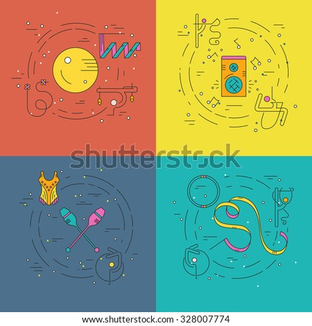 Thin line vector concept collection with rhythmic gymnastics equipment and elements including ball, clubs, hoop.Flyer and banner collection. Sport and fitness vector. - stock vector